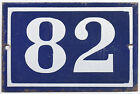 Old blue French house number 82 door gate wall fence street sign plate plaque