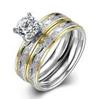 7MM Round Cut CZ Stainless Steel Rings Set Men/Womens Wedding Band Jewelry Sz6-9