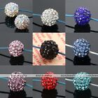 5x Lot Crystal Studded Resin Disco Ball Round Loose Bead Fit Jewelry Making DIY