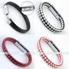 Men PU Leather Click Buckle Clasp Cuff Wristband Braided Knitted Woven Bracelet