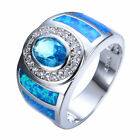Size6-10 Oval Aquamarine & Blue Opal Wedding Ring 10KT White Gold Filled Jewelry