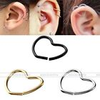 Pair 18G Steel Heart Clip On Fake Closure Ring Captive Hoop Ear Lip Nose Earring