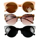 Retro Designer Round Circle Cat Eye Semi-Rimless Sunglasses Fashion Unisex N4U8