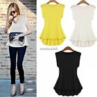 Women Lace Sleeveless Casual Party Vest Tank Top Shirts Peplum Frill Blouse cami