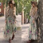 Fashion Women sexy Casual Print Beach Long Maxi Pleated Skirt With Lining N4U8