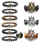 Chic Punk Crown Lion Head Charm Lave Rock Agate Gems Beads Bracelet Jewelry Gift