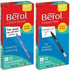 Berol papermate colour fine or broad felt tip fibre tipped12 mixed colours