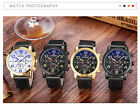 Fashion Casual Mens Faux Leather Stainless Steel Military SCC Quartz Wrist Watch