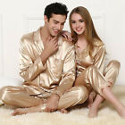 New Couple Silk Blend Pajamas Set Long sleeve Loungewear Sleepwear Comfortable