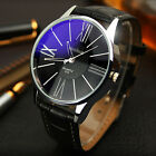 Luxury Stainless Steel Men Military Sport Leather Dial Analog Quartz Wrist Watch