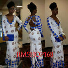 New Womens Skintight Traditional African Print Long Sleeve Evening Party Dress