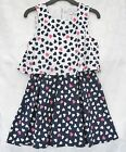 Girls Dress Heart Print Layered Look ex M@S Party Occasion Holiday Dresses 7-14y