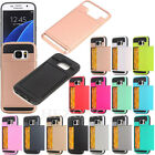 Shockproof Hard Armor Case Cover With Slide Card Slot Holder For Samsung Galaxy