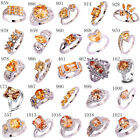 New US Size 6 7 8 9 10 11 12 13 Morganite AAA Gemstone Silver Ring For Women Men