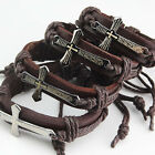 Fashion Mens Wrap Leather Stainless Steel Cross Verses Brown Bracelet Jewelry