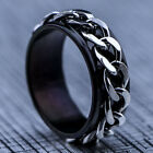 2016 New 316L Stainless Steel Black Chain Mens Spin Rings Fashion Men's Jewelry