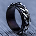 2017 New 316L Stainless Steel Black Chain Mens Spin Rings Fashion Men's Jewelry