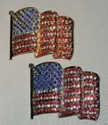 SPARKLING PATRIOTIC USA FLAG PIN/BROOCH SELECT SILVERTONE OR GOLDTONE