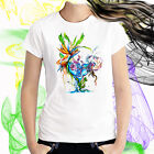 Ladies T-shirt Birdbath w Bird of Paradise Flowers Watercolor Art Sizes XS-2X