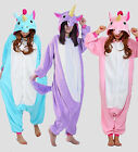 New Adult Unisex Kigurumi Pajamas Animal Onesie Cosplay costume Unicorn S M L XL