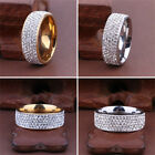 Men Women Stainless Steel Crystal Band Ring Gold Silver Wedding Band Ring Sz8-10 image