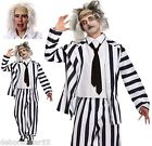 Adult Crazy Ghost Graveyard Ghoul Halloween Fancy Dress Costume + Wig  M-XXL