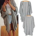 Women's Pure Color Cardigan Batwing Sleeve Knit Sweater Casual Loose Large Coats