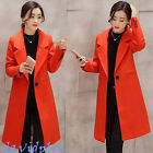 Womens winter Stylish slim Lapel Trench Long coat Wool Blend windbreakers casual