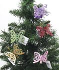 New Set Of 6 Pretty Butterfly Clip On Christmas Tree Ornaments Colour Choice