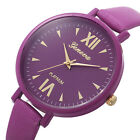 Geneva Women Slim Faux Leather Roman Numerals Quartz Dress Wrist Watch Sanwood