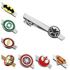 Tie Bar Clip Clasp Engravable Silver Superhero Justice League Marvel Design Gift