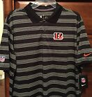 NEW $70 Cincinnati Bengals Nike Dri-Fit Polo Shirt Men's NFL White Black Stripes