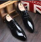 Business Men's Patent Leather Lace-Up Dress Oxford Pointed Toe Formal Shoes Size