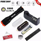 5000LM XM-L T6 LED Zoomable Tactical Flashlight Torch Lamp 18650 Battery Charger