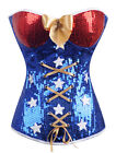 Wonder Woman Superhero Comic Costume Corset Bustier Size S-6XL Blue SCG A2366