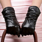 28cm Women's Genuine Lambskin Leather Winter Warm Ruched Gloves Lined Black New