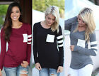 Women Ladies Round Neck Long Sleeve Pocket Loose Polyester T-Shirt Tops Blouses