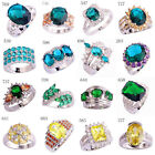 Women Men Party Jewelry Emerald Quartz & Green Topaz Silver Ring US Size 7 - 10
