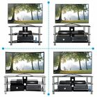 "TV Stand Black Glass Silver Leg Stands for Plasma LCD LED 3D 26"" 32"" 37"" 55"" 60"""