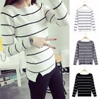 Sale Fashion Women Girl Long Sleeve Knitted Pullover Striped Jumper Sweater