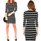 Women Slimming Wrap Fashion Autumn Casual Striped Bodycon Dress TB