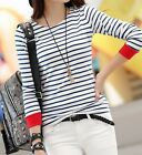 New Women's Tops O-Neck T-Shirt Long Sleeve Black and White Striped T Shirts
