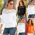 UK Fashion Women Long Sleeve Lace Shirt Casual Loose Ladies Blouse Tops T-Shirt