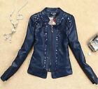 Fashion Women Short outwear Slim motorcycle leather jacket diamond coats