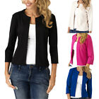 Fashion Women Three Quarter Sleeve Short Suit Jacket Casual Solid Slim Coat