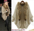 Womens Winter Warm Fur Collar Poncho Knitwear long sleeves Coat Cape Cloak hot