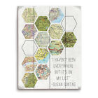 'Hexagon Maps On My List' Wall Graphic on Wood