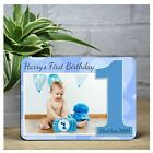 Personalised Boys Sparkle 1st First Birthday WOOD PHOTO KEEPSAKE PRINT GIFT