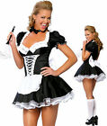 Halloween Ladies French Maid Waitress Rocky Horror Fancy Dress Costu