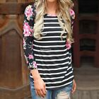 Femmes Automne Crew Casual Neck 3/4 Sleeve Striped Slim Fit T-shirt Blouse